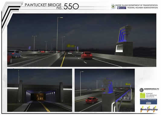 Pawtucket River Bridge Rendering Night Lighting