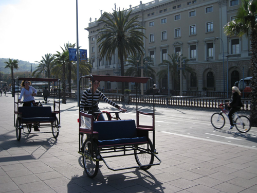 Bicycle Taxis and Bike Lanes in Barcelona