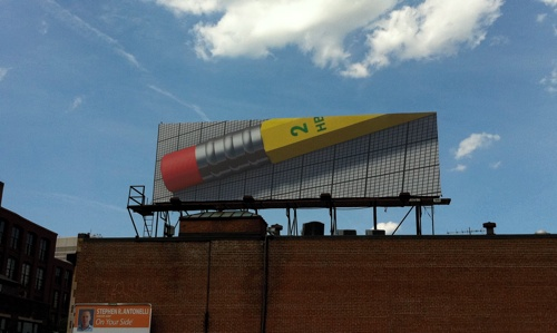 Pencil billboard in the Jewelry District