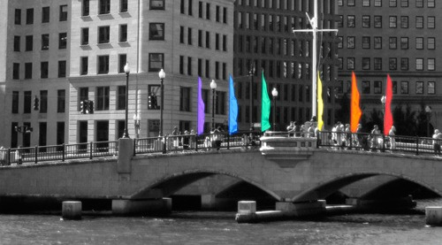Rainbow flags on the Crawford Bridge during last year's Pride Festival