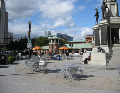 Seating in Kennedy Plaza Providence
