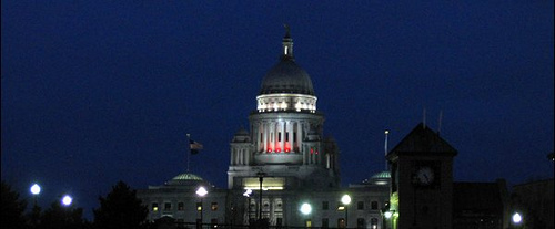 Rhode Island State House at night.