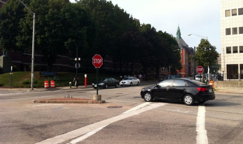 The traffic lights have been removed at the intersection of Weybosset, Broad, Empire, and Chestnut Streets.