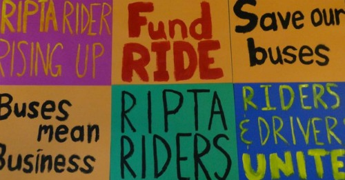RIPTA Protest Signs