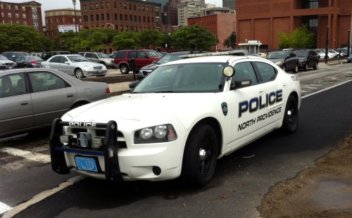 North Providence Police car parked on the sidewalk